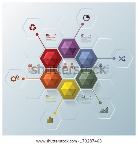 Modern Hexagon Business Infographic Design Template - stock vector