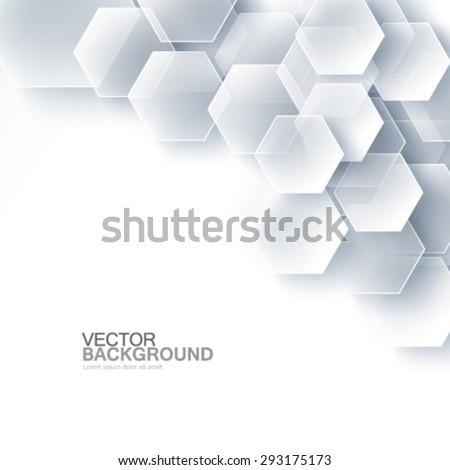Modern Hexagon Design Glass Effect Background - stock vector