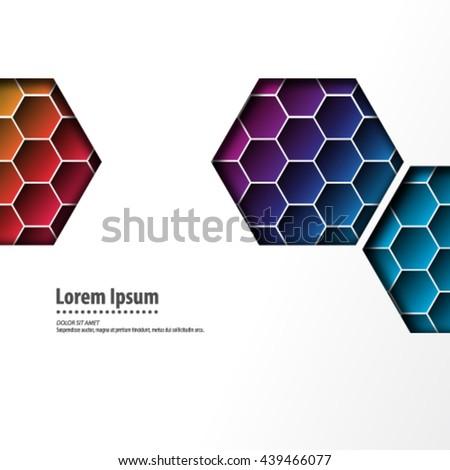 Modern Hexagon Design/Layout Background - stock vector
