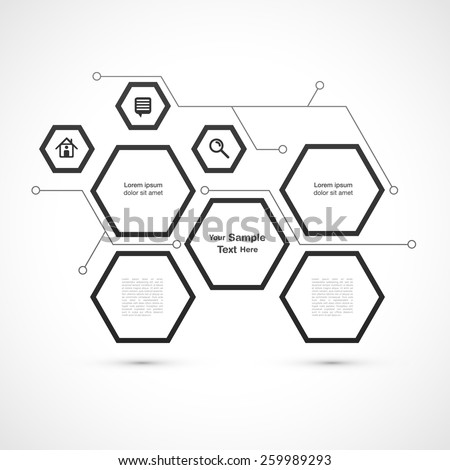Modern hexagon web design isolated on white background vector stock eps 10 illustration - stock vector