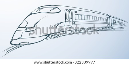 Modern high speed steel city hovercraft icon isolated on white backdrop. Vector black freehand linear ink hand drawn sketch in art scribble style pen on paper. Side view with space for text on land - stock vector