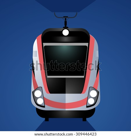Modern high-speed train isolated on blue background. Front view. One of type of passenger transportation. - stock vector