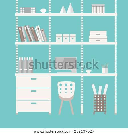 Modern home office interior. Flat design illustration. For web design, presentation, infographic.  - stock vector