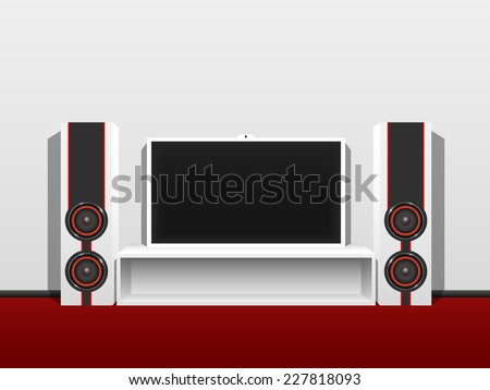 Modern home theater from a flat TV and music speakers, in a clean, bright room. - stock vector