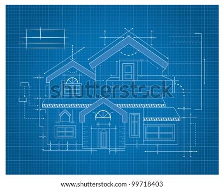 Modern House Blueprint - stock vector