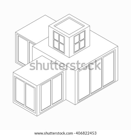 Modern house icon, isometric 3d style  - stock vector