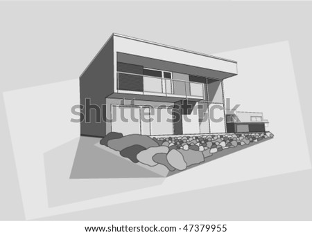 modern house vector draw - stock vector