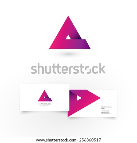 Modern icon design A letter shape element with business card template. Best for identity and logotypes. - stock vector