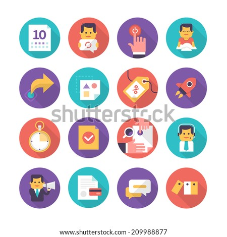 Modern icons in flat style of business events, customer care, commerce. Collection of flat icons isolated on white background - stock vector