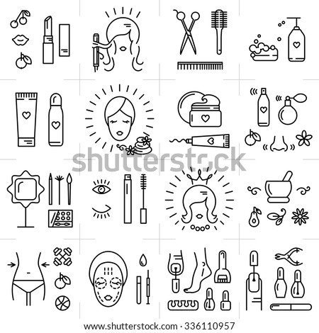 Modern icons set of cosmetics, beauty, spa and symbols collection made in modern linear vector style. Perfect design element  for the cosmetics shop, a hairdressing salon, cosmetology center - stock vector