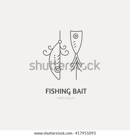 Modern illustration of a tackle - design element or label for fishing gear shop. Fishing equipment made in modern line style vector. - stock vector
