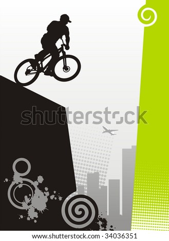 Modern illustration with the bicyclist. It carries out a dangerous trick. On a distance shot skyscrapers are visible. - stock vector