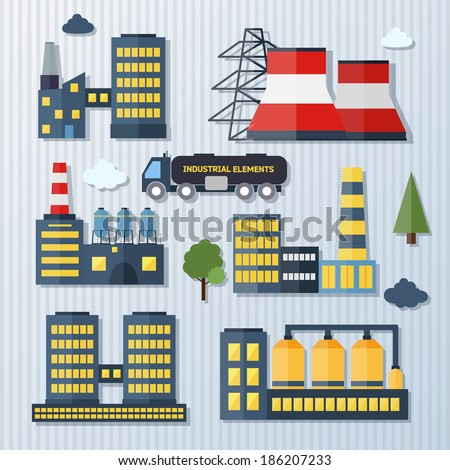 Modern industrial flat buildings set. Plants and factories vector illustration  - stock vector
