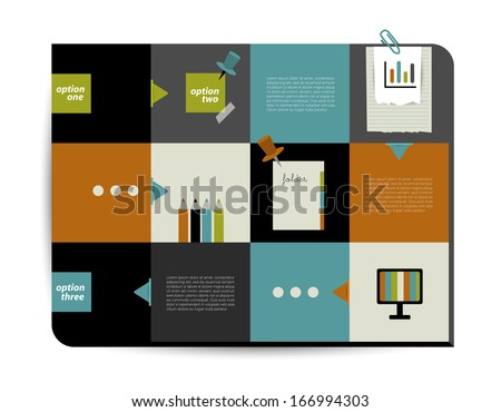 Modern infographic box diagram can be used for annual report. Web or print banner, template. Simply minimalistic option graphics design. Vector illustration.  - stock vector