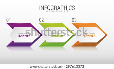 Modern infographic design template. Three steps. Vector - stock vector