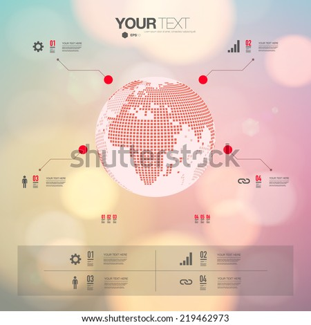 Modern infographic design with 3D world map and bokeh background can be used for workflow layout, chart, number options, presentation, web design.  Eps 10 stock vector illustration  - stock vector