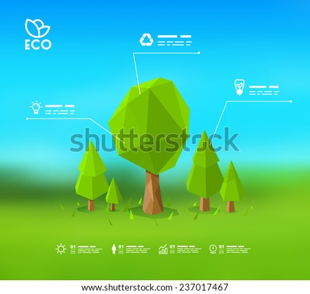Modern infographic design with lowpoly tree Eps 10 - stock vector