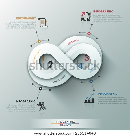 Modern infographic option banner with abstract round infinity ribbon. Vector. Can be used for web design and  workflow layout - stock vector