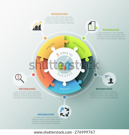 Modern infographic options banner with pie chart divided into 5 puzzle elements. Vector. Can be used for web design and workflow layout - stock vector