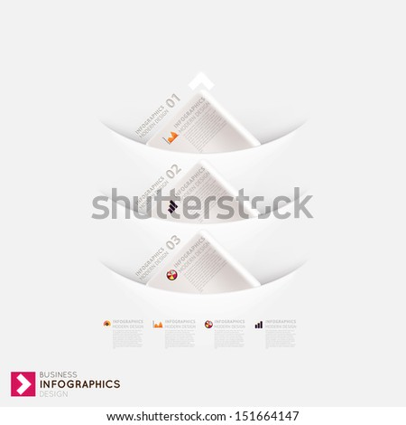 Modern infographic template with icons for business design, ribbons. Can be used for banners, cards, paper designs, website layouts, diagrams and presentations. Vector eps10 illustration. - stock vector