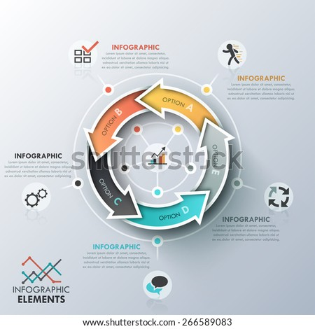 Modern infographics cycle template with 5 realistic curved colorful arrows. Vector. Can be used for web design and  workflow layout - stock vector