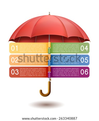 Modern infographics option banner, with red umbrella on white background, EPS 10 contains transparency. - stock vector
