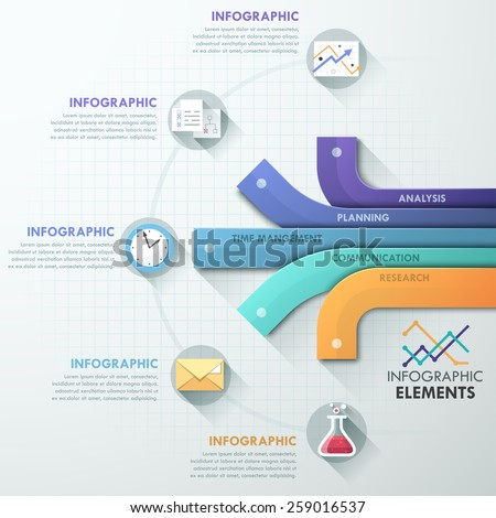Modern infographics options banner with 5 paper ribbons and flat icons on grey background. Vector. Can be used for web design and  workflow layout - stock vector