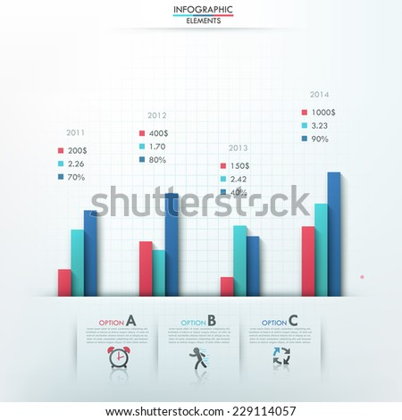 Modern infographics options template with column charts and icons for 3 options. Vector. Can be used for web design and  workflow layout - stock vector