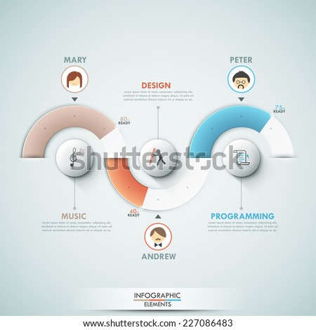 Modern infographics options template with 3 pie charts, icons and text. Vector. Can be used for web design and  workflow layout - stock vector