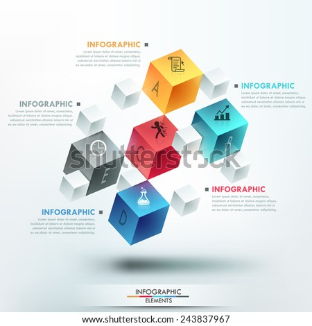 Modern infographics options template with 5 realistic colorful cubes and 4 options, icons and editable text on bright background. Vector. Can be used for web design and workflow layout. - stock vector