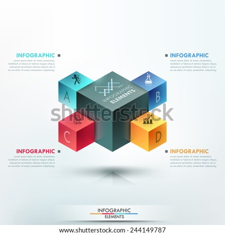 Modern infographics options template with realistic colorful cubes and 4 options, icons and editable text on bright background. Vector. Can be used for web design and workflow layout. - stock vector