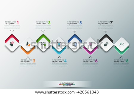 Modern infographics process template with connected paper rectangle sheets, icons and text for 8 steps. Vector. Can be used for web design, timeline and workflow layout - stock vector