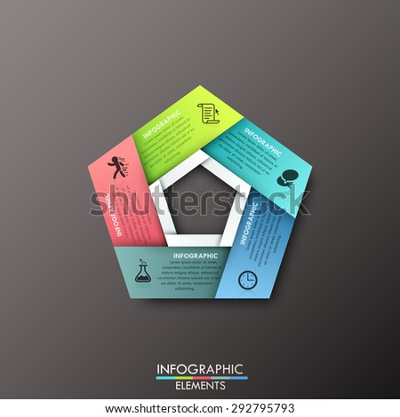 Modern infographics process template with pentagon shape made of 5 colorful ribbons on dark background. Vector. Can be used for web design and workflow layout - stock vector