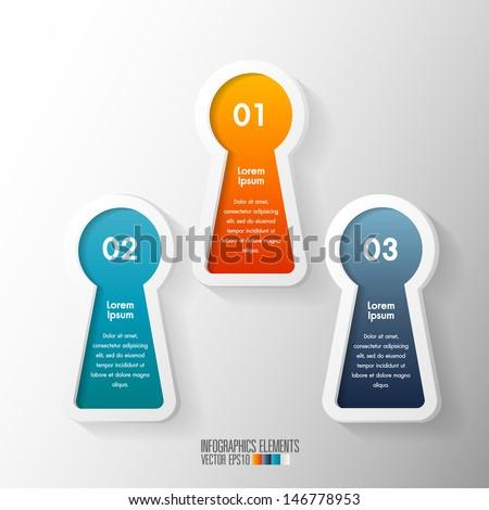 Modern Infographics template, key hole shape vector  - stock vector