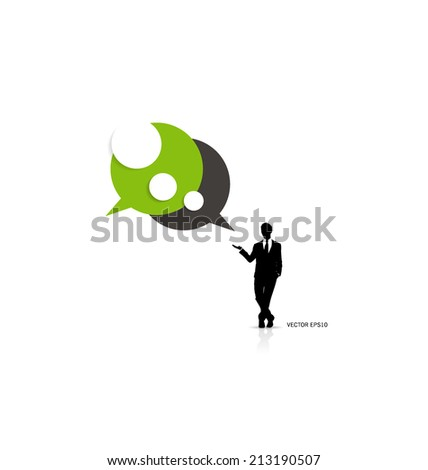 Modern infographics template style. Businessman with bubble speech. Vector illustration. - stock vector