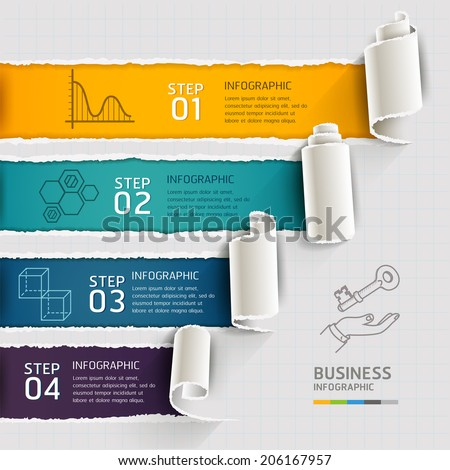 Modern infographics template torn paper style. Vector illustration. can be used for workflow layout, diagram, number options, step up options, banner, web design  - stock vector
