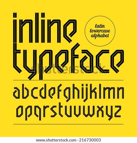 Modern inline typeface, alphabet. Vector. - stock vector