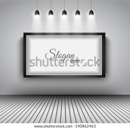 Modern interior art gallery frame design with spotlights. Shelf, spotlight with directional light, delicate shadows and clean background. - stock vector