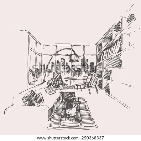 Modern interior concept, hand drawn vector illustration, architectural sketch - stock vector