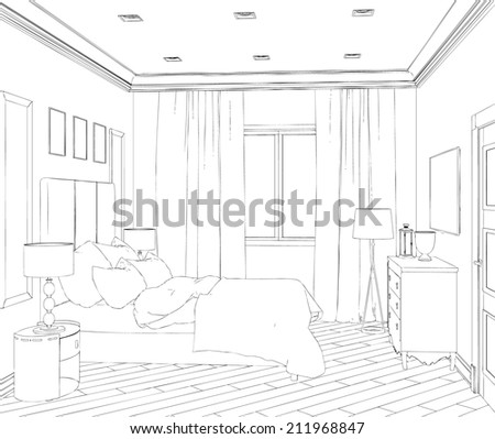 Modern interior hand drawing - stock vector