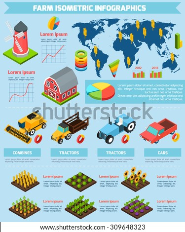 Modern international farming agricultural production facilities and equipment statistic analysis infographic report presentation abstract isometric vector illustration - stock vector