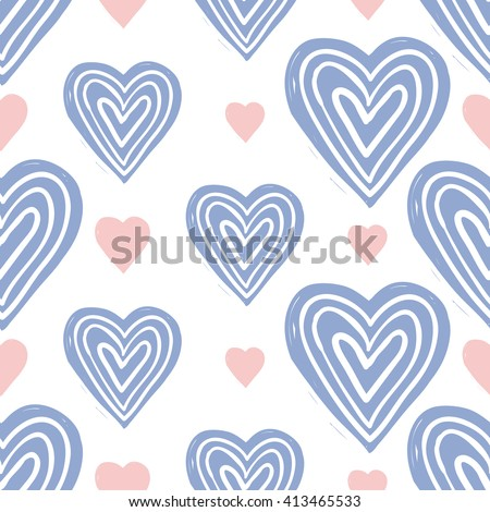 Modern kids soft colored seamless pattern with heart and line heart. Hand drawn graphic with tender cute minimalistic scandinavian cartoon elements isolated on white background - stock vector