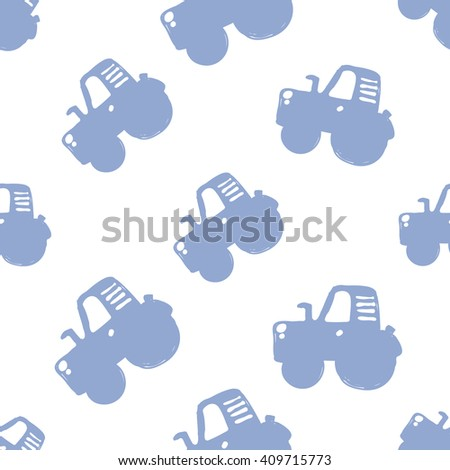 Modern kids soft colored seamless pattern with tractor. Hand drawn graphic with tender cute minimalistic scandinavian cartoon elements isolated on white background - stock vector