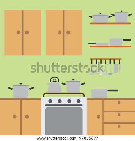 Modern kitchen with wooden worktops and stainless steel appliances. - stock vector