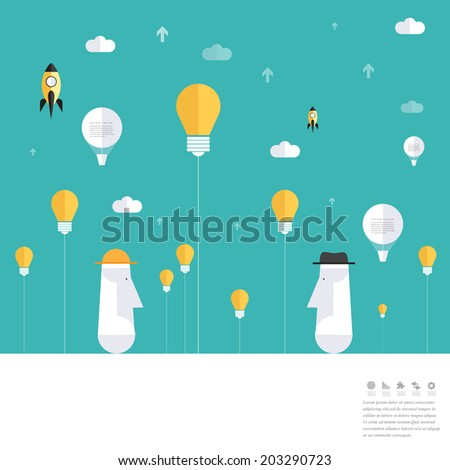 Modern land idea concepts in flat design for web, mobile applications, seo optimizations, business, social networks, e-commerce, planning and teamwork.  - stock vector