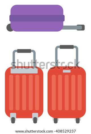 Modern large suitcases on wheels. - stock vector