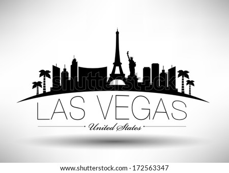 Modern Las Vegas City Skyline Design - stock vector