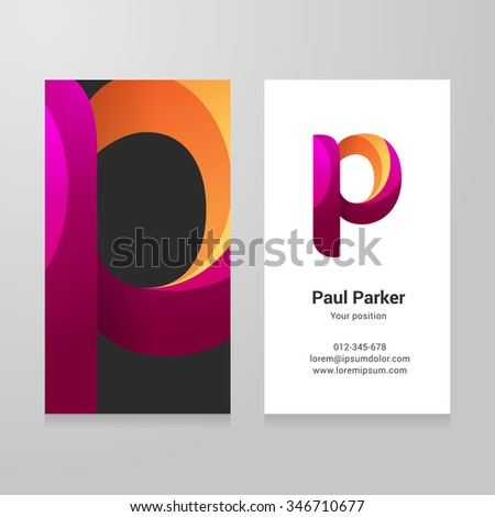 Modern letter p twisted colorful Business card template. Vector design. Layered, editable. - stock vector