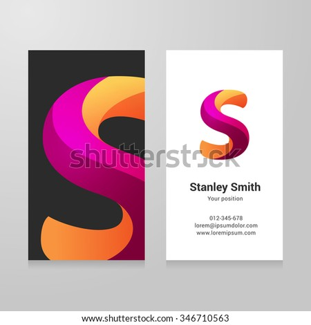 Modern letter s twisted colorful Business card template. Vector design. Layered, editable. - stock vector