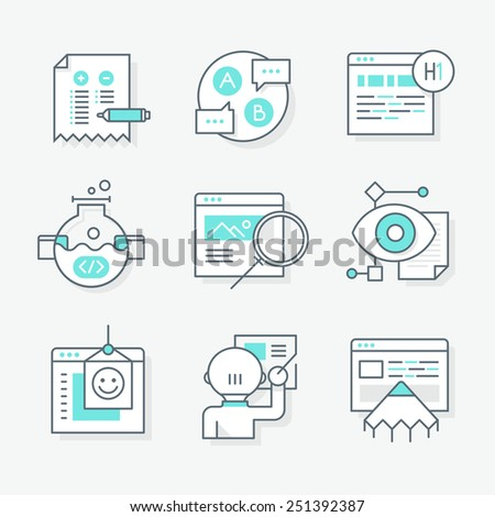 Modern line icons of website redesign and developing, analyzing site reporting, optimizing website pages, SEO audit and building web solutions. Isolated linear style icons. - stock vector